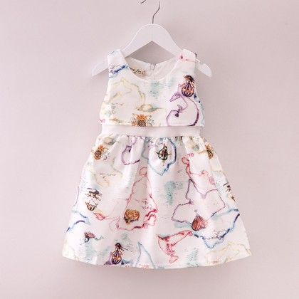 Print Pleated White Dress - Mauve Collection