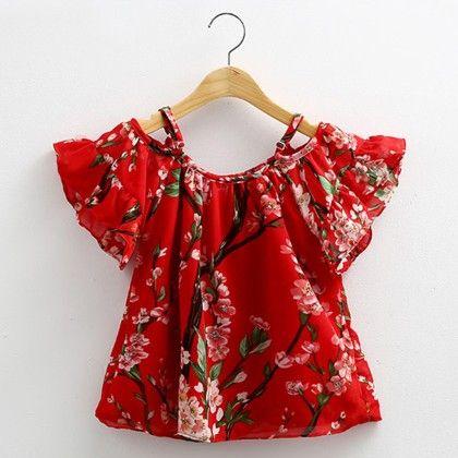 Cute Print Chiffon Red Tunic - Mauve Collection