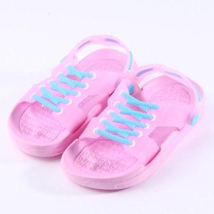 Light Pink Lace Up Detail Clogs - Zheng Shoes
