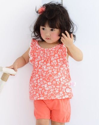 Girl's Pink Floral Print Top And Shorts Set - Chouchou