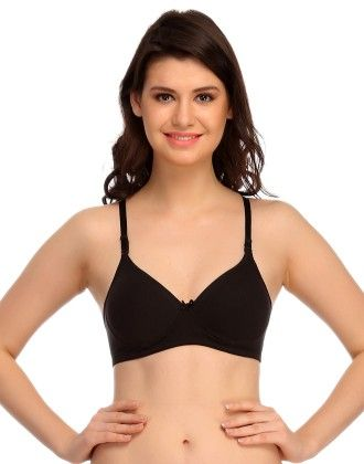 Clovia Cotton & Lycra Bra In Black