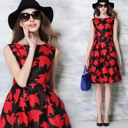 Vintage Casual Print Pleated Slim Dress Women - Red - STUPA FASHION