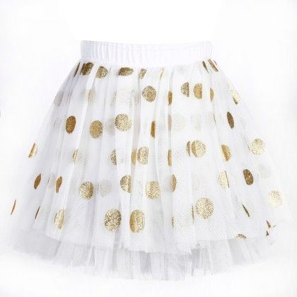 Cute Gold Polka Dots Print White Tutu Skirt - Isabella By Princess