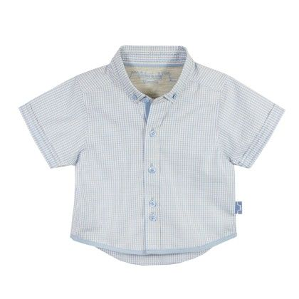 Louis Boy Short Sleeves Shirt Light Blue Checks - Chateau De Sable