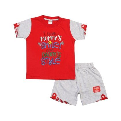 Red I Have Mommy Smile Printed Tee & Short Set - UNO  KIDS