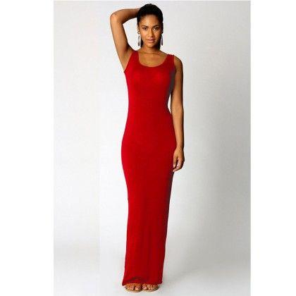Round Neck Ladies Long Maxi Dress - Red - STUPA FASHION