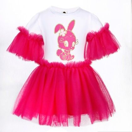 Cute White And Rose Red Bunny Print Frilled Dress - Isabella By Princess