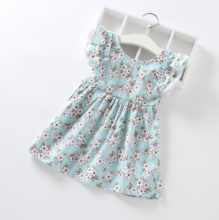 Cute Floral Ruffle Sleeved Dress - Green - Jumping Baby