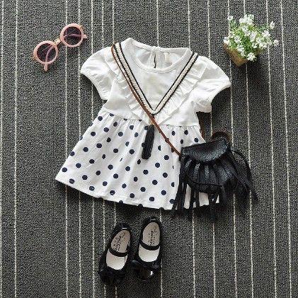 Stylish White Polka Dot Dress - Naton