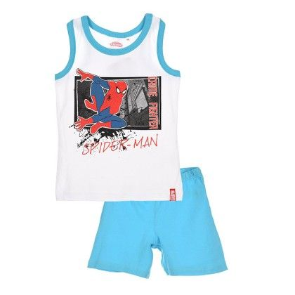 White Spiderman Tank Top And Short Set - Spiderman Apparel