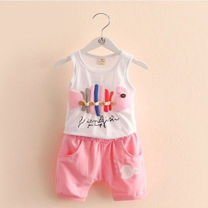 Cute Fish Printed Tshirt With Pink Shorts - Mauve Collection