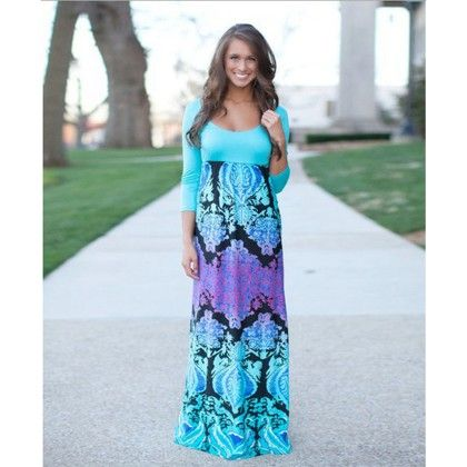 Sleevless - Neck Floral Maxi Dress - Dell's World