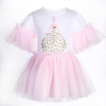 Cute White And Pink Princess Print Frilled Dress - Isabella By Princess