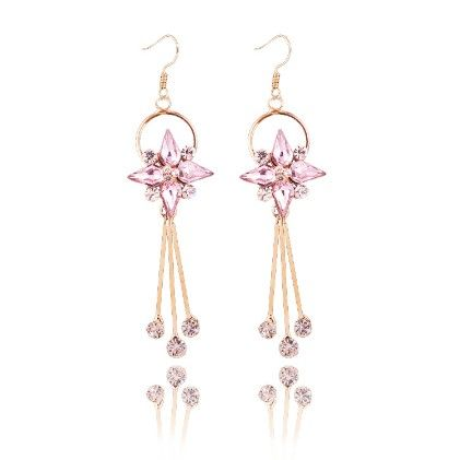 The Royal Princess-pink Drop Earrings - The Purple Present