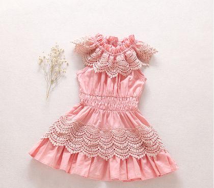 Pink Lace Design High Neck Dress - Bobkids