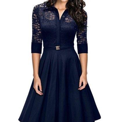 American Perspective Deep V Lace Stitching Slim Dress - Blue - STUPA FASHION