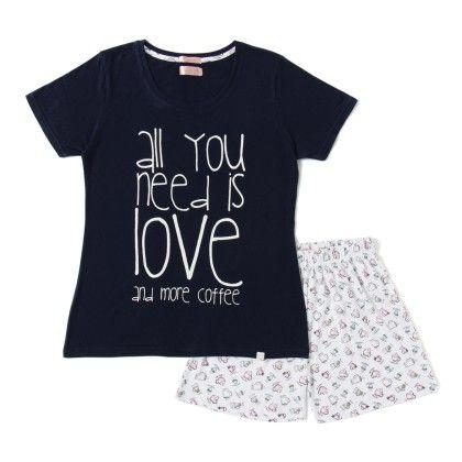 Navy Blue Top With Coffee Mugs Printed Shorts Set - Sheer Love