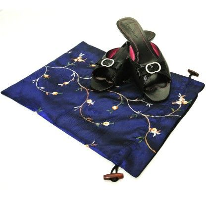 Beautiful Embroidered Silk Travel Bag For Shoes Assorted 1 Unit - Wrapables
