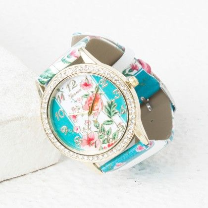 Pink Flower And Sky Blue Strips Belt Watch - Mirta