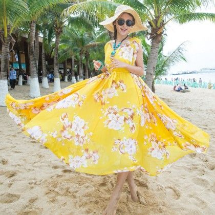 Yellow Floral Print Sleeveless Flair Dress - Dell's World