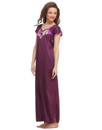 3 Pcs Satin Nightwear In Purple - Clovia