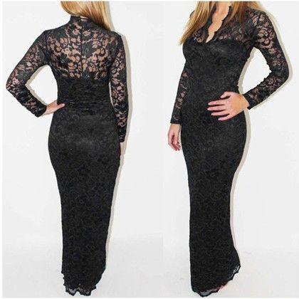 Lace Crochet Long Prom Gown - STUPA FASHION