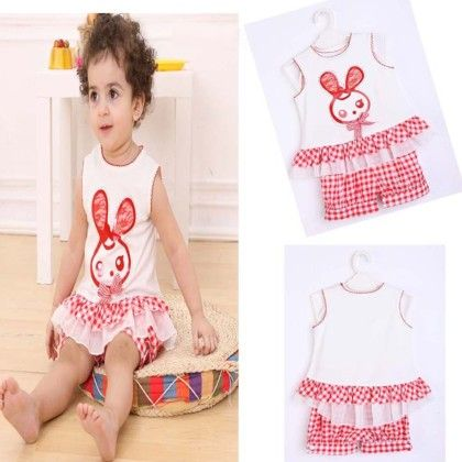Cute Doll Print Top And Checked Shorts Set - White - MeiQ