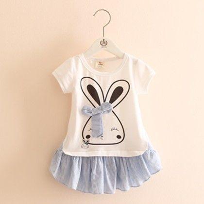 Trendy Rabbit Blue Tunic Dress - Mauve Collection