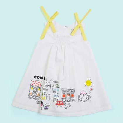 White Comic Print Yellow Tie Up Dress - Lourdes