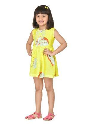 Marshmellow Yellow Short Dress With Dainty Frills - Masaba For Magic Fairy