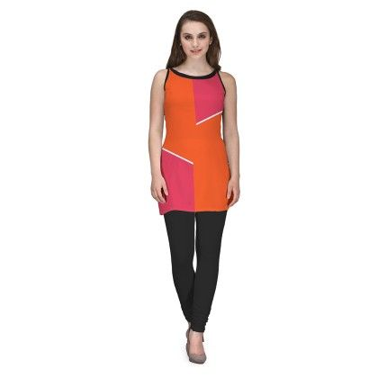 Digitally Printed Orange And Pink Georgette Kurti - Avya
