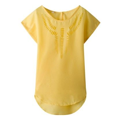 Yellow Cut-work Top - Dell's World