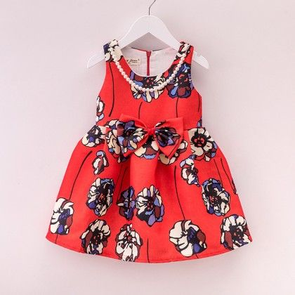 Pretty Red Printed Party Dress - Mauve Collection