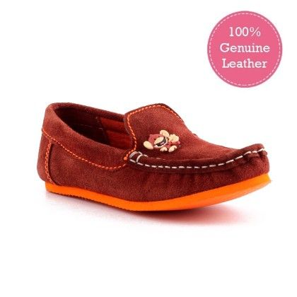 Brown Genuine Leather Loafers With Monkey Motif - Willy Winkies