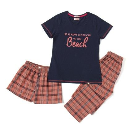 Navy Blue Top With Printed Woven Full Pyjama And Shorts Set (3pc Set) - Sheer Love