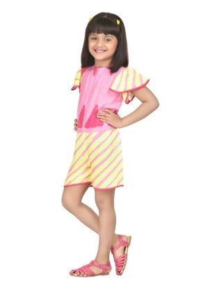 Fruitpunch Stripes Baby Pink Frill Sleeve Playsuit - Masaba For Magic Fairy