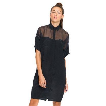 Short Sleeves Black Sheer Shirt Dress - HAODUOYI