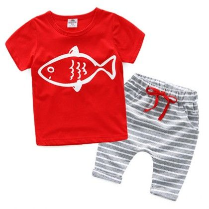 Cute Tshirt And Grey Mid Length Pants - Red - Mauve Collection