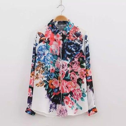 Elegant Vintage Flowers Print Shirt - STUPA FASHION