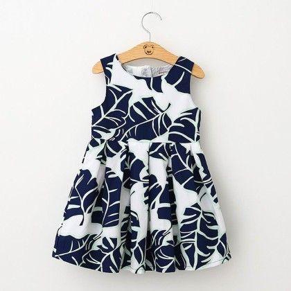 Multi Leaf Printed Party Dress - Petite Kids