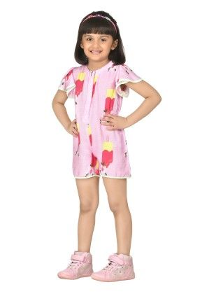 Pink Adorable Frill Sleeve Playsuit - Masaba For Magic Fairy