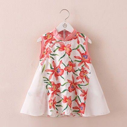 Stylish Printed Cotton Chiffon Dress - Mauve Collection