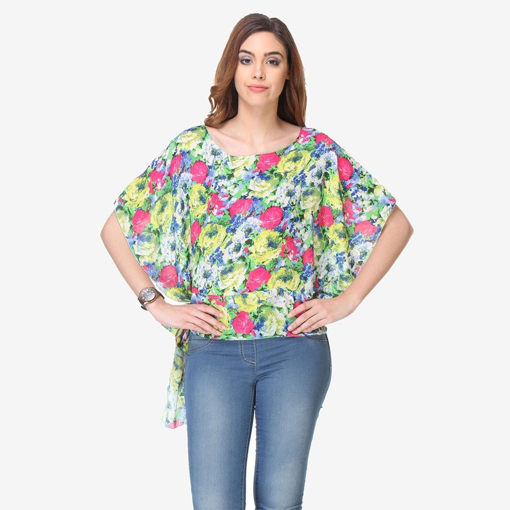 Multi Colored Chiffon Printed Top - Varanga - 325734