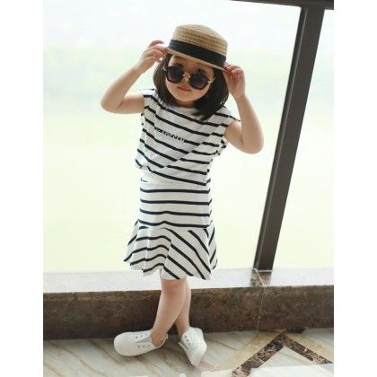 Black And White Stripe Dress - Pumpkin
