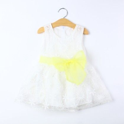 White Floral Work Dress With Bow - Best Baby