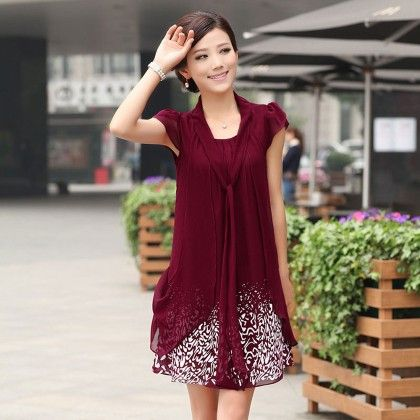 Casual Dress Ladies Female Print Floral Dresse - Wine Red - STUPA FASHION