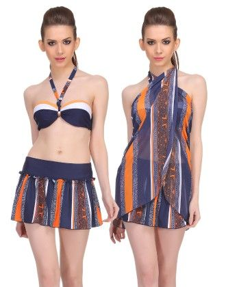 Clovia 3 Piece Set Of Halter Padded Top With Skirted Bottom And A Sarong In Navy
