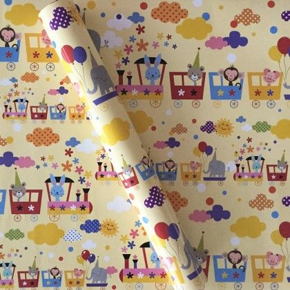 Animals Ona Train Wrapping Paper - Dots & Doodles