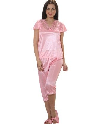4 Pcs Satin Nightwear In Baby Pink - Robe, Nightie, Top, Capri - Clovia