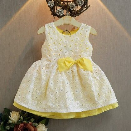 Yellow Bow Applique Party Frock - Lil Mantra